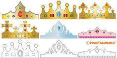 Corone di carta da stampare gratis e ritagliare per bambini da principi, principesse, re e regine