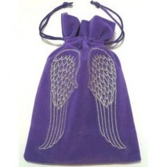 Angel Wings Embroidered Luxury Tarot Bag Velvet 190 x 130mm £7.99 Luxury velvet tarot bag with embroidered Angel Wings and drawstring closure. All embroidery is metallic thread. It can be used for all standard sized oracle and tarot decks. Ideal for use to keep your magical tools, ie. crystals, runes and other items special to you. They are also ideal for sale as giftbags on their own. Tarot bags measure 190 x 130mm Weight: 22grams - only one lilac left in stock