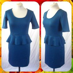 Blue Striped Peplum Jersey Sheath Dress Sz S Super cute jersey sheath dress with peplum flounce at the waist. Blue and gray striped. Scoop neck and short sleeves. Back zip closure. Size S or 4/6. Pretty dress with just a hint of pilling on the left sleeve (not noticeable).       Bundle 2 or More Items and Save 15% Off Automatically!  Xhilaration Dresses Midi