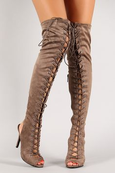 Breckelle Lace Up Back Cutout Stiletto Thigh High Boot