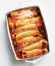 Enchiladas with mushrooms,beans, and cheese. Looks delish! Comfort food.