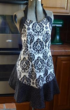 Damask & Dot Apron by TheCoverUp on Etsy, $45.00 Custom made in any color or pattern!