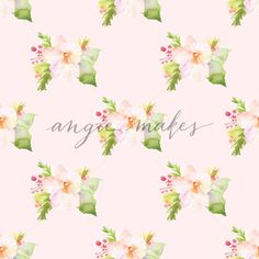 Cute Pink Watercolor Flower Background Pattern. Repeating Pattern - Angie Makes Stock Shop