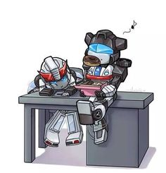 Jazz and Prowl munching on doughnuts