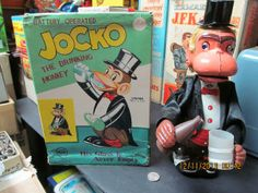 icollect247.com Online Vintage Antiques and Collectables - JOCKO THE DRINKING MONKEY BATTERY OPERATED IN ORIG BOX 1950s
