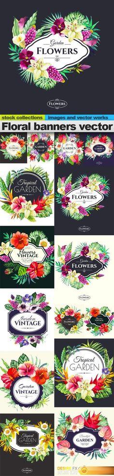 Floral banners vector, 15 x EPS Creative Banners, Floral Banners, Banner Vector, Vector Graphics, Embellishments, Vintage, Ornaments, Decoration, Vintage Comics