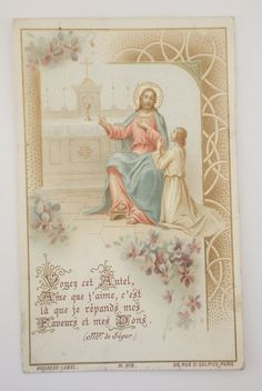Antique French Prayer Card dated 1904 by NotreDameDeParis on Etsy, $3.75