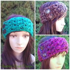 Effortless Chic Headband - Free crochet pattern by Beatrice Ryan Designs. Crochet Headband Free, Crochet Beanie, Crochet Yarn, Crochet Flowers, Free Crochet, Irish Crochet, Crochet Gratis, Slouch Beanie, Crocheted Hats