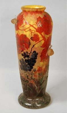 Daum Frères, Nancy, Applied, Wheel Carved and Etched Glass Vase. L'Escargots.