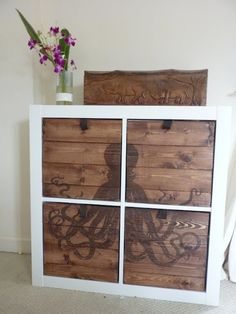 IKEA Hackers: Etched Octodraws for Expedit - not really painted - done with a laser if you can believe it.  So cool!!
