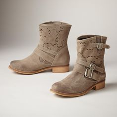 EYELET BUCKLE BOOTS--In addition to the season's requisite buckles, these soft suede shorties boast laser perfs in must-have colors. Leather lining, nickel hardware. Made in Spain. Euro whole sizes 36 to 41. 36 (US 6.5), 37 (US 7.25), 38 (US 8), 39 (US 8.75), 40 (US 9.5), 41 (US 10.25).