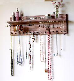 Organizador de joyas con estante. Pendientes de la pantalla.