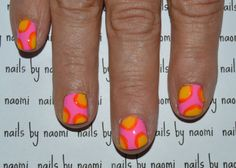 See the full instructional tutorial here! See the awesome little speedtorial here! After cleaning, filing, and shaping the nail and applying a base coat: 1. apply two thin coats of bright pink polish 2. use a big dotting tool and some yellow polish...