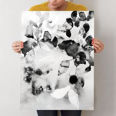 """Flora in B+W"" - Art Print by V E R Y M A R T A in beautiful frame options and a variety of sizes. comes in up to 40 x 54"""