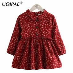 Dress For Kids Girls 2016 New Autumn Fashion Floral Prinitng Baby Girl Dress Long Sleeve Cute Casual Children Clothing 4151W #Affiliate