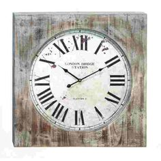 This decorative wall clock is made from rustic distressed wood that is beautifully stained in a white washed like staining all over the outside of this decorative wall clock that gives it a stunning shabby chic vibe. Just like the exterior of this decorative shabby chic wall clock, the inside of this clock also features a rustic style with unique distressing that adorns the face of this decorative wooden wall clock. The face of this decorative wooden wall clock is also printed with the text…