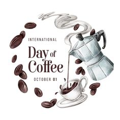 International day of coffee | Free Vector #Freepik #freevector #coffee #drink #natural #dark Coffee Label, Coffee Shop Logo, Coffee Icon, Drinking Black Coffee, White Coffee Cups, Espresso Coffee, Coffee Drinks, Propaganda E Marketing, Coffee Process