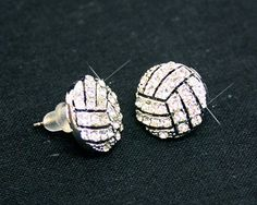 Crystal POST Volleyball Earrings