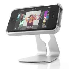 Sleek Alloy 360 Degree Rotating Multiple View Desk Stand Supports Charge / Sync / FaceTime / Netflix for AT and Verizon Apple iPhone 4 (Electronics)  Click To Order-->http://sales.qrmarkers.me/page/B004FOQDDA