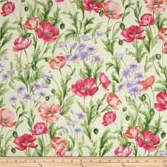 Sundance Field Flowers Cream/Multi from @fabricdotcom  Designed by Ann Lauer of Grizzly Gulch Gallery for Benartex, this cotton print fabric is perfect for quilting, apparel and home decor accents. Colors include cream, shades of purple, shades of pink, and shades of green.