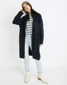 Double-Breasted Sweater-Coat in nautical black image 1 Cardigan Sweaters For Women, Sweater Coats, Sweater Jacket, Cashmere Sweaters, Women's Sweaters, Cardigans, Women's Coats, Dress Up Outfits, Sweater Outfits
