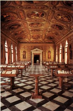 Biblioteca Marciana - Venezia All the paintings on the ceiling are by great masters. Beautiful!