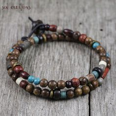 Mens-Beaded-Leather-Bracelet-Surfer-Prayer-Mala-Multi-Color-Wood-Beads-Surf-Sol