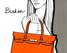 Birkin bag Fashion Illustration print from original by Alfia Galimova