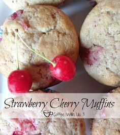Strawberry Cherry Muffins or as I call them Cherberry Muffins. Strawberries, cherries, and in a cinnamon muffin. Bet you can't eat just one! Cherry Muffins, Strawberry Muffins, Strawberry Recipes, Fruit Recipes, Muffin Recipes, Dessert Recipes, Potluck Recipes, Coffee Muffins, Cinnamon Muffins