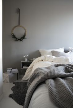 bedroom, christmas styling by elisabeth heier Wreath in brass from Cooee