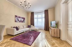 Spacious Three-Bedroom Apartment in the City Centre - Maiselova - Prague 1 Prague 1, Prague City, Apartment Interior Design, Bedroom Apartment, Beautiful Living Rooms, Vacation Apartments, Shag Rug, Living Room Designs, Prague Apartment