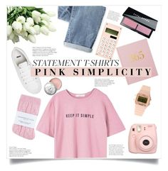 """Statement t-shirt: Pink Semplicity"" by alexispengu ❤ liked on Polyvore featuring ASOS, MANGO, Wrap, Bobbi Brown Cosmetics, Johnstons, Fujifilm and Timex 80"