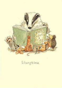 Story time by Anita Jeram Art And Illustration, Vector Illustrations, Anita Jeram, Whimsical Art, I Love Books, Animal Drawings, Illustrators, Book Art, Barn