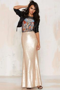 Sea of Gold Sequin Maxi Skirt