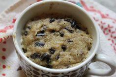 Paleo, vegan, gluten free, sugar free cookie dough muffin in a mug! Gluten Free Sugar Cookies, Gluten Free Muffins, Vegan Gluten Free, Paleo Dairy, Vegetarian Paleo, Dairy Free, Paleo Cookie Dough, Chocolate Chip Cookie Dough, Chocolate Chips