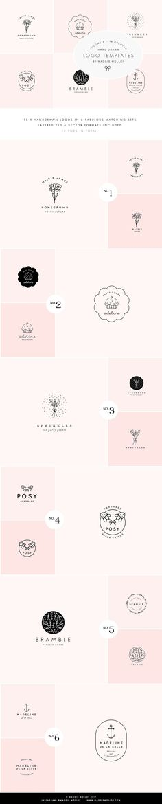 Feminine Premade Logo Bundle Vol. 3 by Maggie Molloy on @creativemarket Creative logo design inspiration, perfect for a modern business branding with perfect font and typography selection. Take some ideas or use this feminine, elegant, nature, floral and also hipster set.