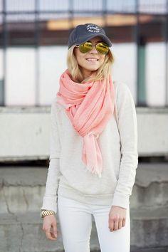 white denim / grey sweatshirt / pink scarf / baseball hat