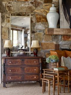 Is there a way to bridge the gap between my husband wanting masculine, rustic decor with lots of wood and my love of blue & white with creamy white molding? Rustic Room, Rustic Cabin Decor, Rustic Bedrooms, Rustic Cabins, Log Cabins, Western Decor, Log Home Interiors, Rustic Interiors, Interior Decorating
