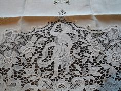 SOLD to L. Antique Vintage Linen Figural Lace Hand Embroidered Guest Towel Natural Pure Linen Color
