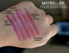 Maybelline Color Sensational Lipsticks Bit of Berry Yummy Plummy Party Pink Summer Sunset Hooked on Pink Indian Beauty Makeup Blog Photos Swatches