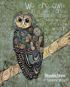 The Wisdom We Acquire / Owl / original illustration par studio3ten, $20.00