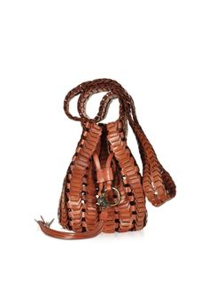 Roberto+Cavalli+Rust+Woven+Leather+Bucket+Bag+w/Shoulder+Strap