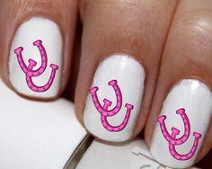 20 pc Pink Horse Shoes Horse Tracks Nail Art Nail Decals #cg100na