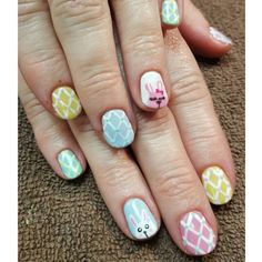 Easter nails done in Artistic Colour Gloss gel polish