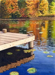 Autumn Lake Landscape Original Watercolor Painting by Cathy HIllegas, 11x14, autumn trees, lake painting, orange, red, yellow, blue, green on Etsy, $295.00