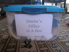 Doctor's office in a box. Prop boxes make it so easy to rotate dramatic play themes.