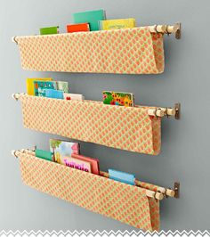 Book Sling Lowe's Creative Ideas-cute for the Twinkies' future bedroom Diy Couture Rangement, Astuces Camping-car, Childrens Bedroom Storage, Book Sling, Wooden Spice Rack, Pants Rack, Sewing Projects, Diy Projects, Home Bedroom