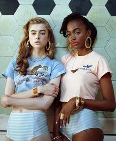 Glastonbury Festival Fashion Inspiration. hippie, bohemian, boho. Hopt pants, 90s retro tees/t-shirts, hoop earings, girl pals