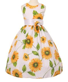 Another great find on #zulily! Yellow Floral A-Line Dress - Toddler & Girls #zulilyfinds
