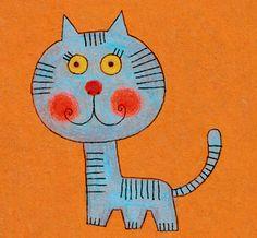 Blue cat orange background